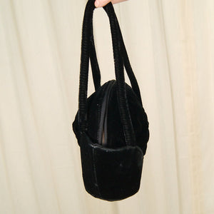 1940s Round Blk Velvet Handbag - Cats Like Us