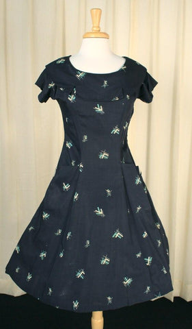 1950s Atomic Collar Swing Dress - Cats Like Us