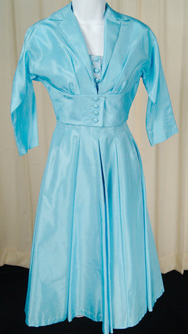 1950s Baby Blue Dress Suit by Cats Like Us - Cats Like Us