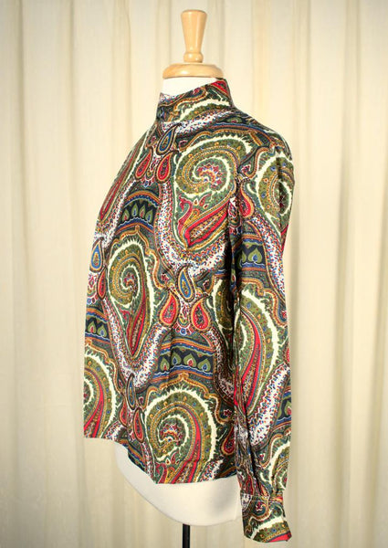 1950s Back Button Paisley Top