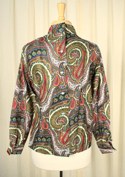 1950s Back Button Paisley Top - Cats Like Us