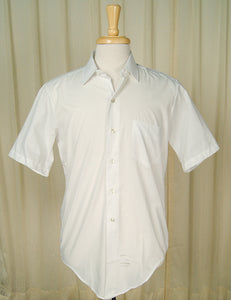 1950s Basic Short S White Shirt by Cats Like Us : Cats Like Us
