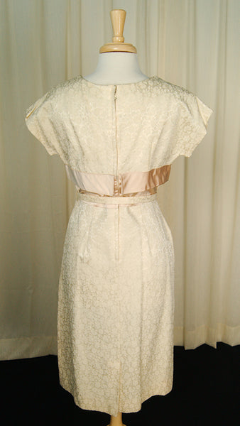 1950s Beige Brocade Dress by Vintage Collection by Cats Like Us - Cats Like Us