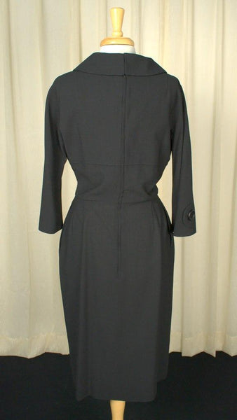 1950s Big Button Wiggle Dress - Cats Like Us