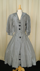 1950s Black & White Check Dress by Vintage Collection by Cats Like Us - Cats Like Us