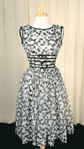 1950s Black & White Swing Dress