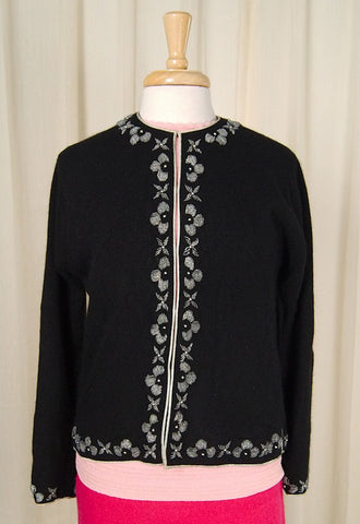 1950s Black Bead Trim Cardigan