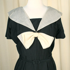 1950s Black Big Collar Dress - Cats Like Us