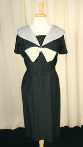 1950s Black Big Collar Dress