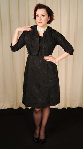 1950s Black Brocade Dress Suit by Vintage Collection by Cats Like Us - Cats Like Us