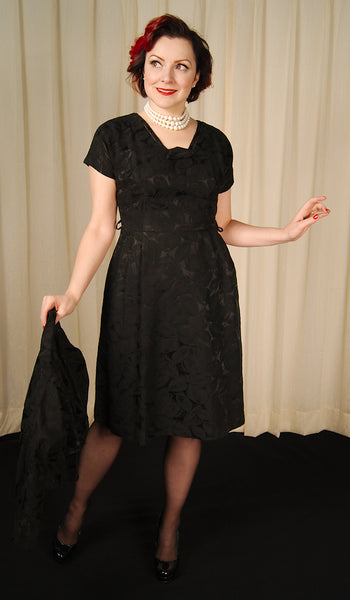 1950s Black Brocade Dress Suit