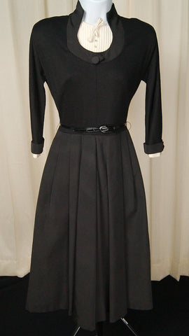 1950s Black Dress w White Trim - Cats Like Us
