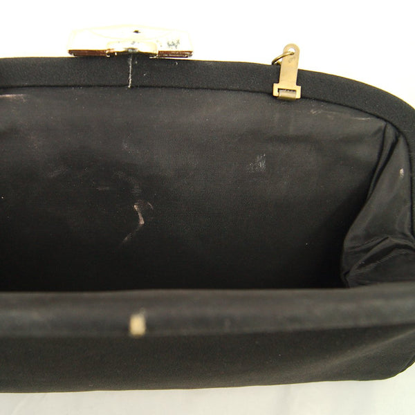 1950s Black Fabric Clutch Bag - Cats Like Us