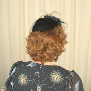 1950s Black Fascinator Hat - Cats Like Us