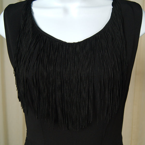 1950s Black Fringe Wiggle Dress by Cats Like Us - Cats Like Us