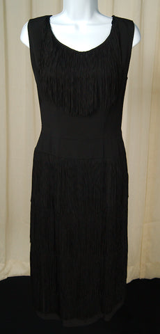 1950s Black Fringe Wiggle Dress