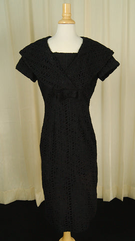 1950s Black Lace Eyelet Dress