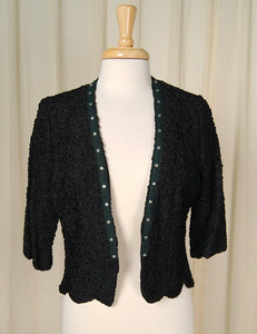 1950s Black Loop Bolero Jacket - Cats Like Us