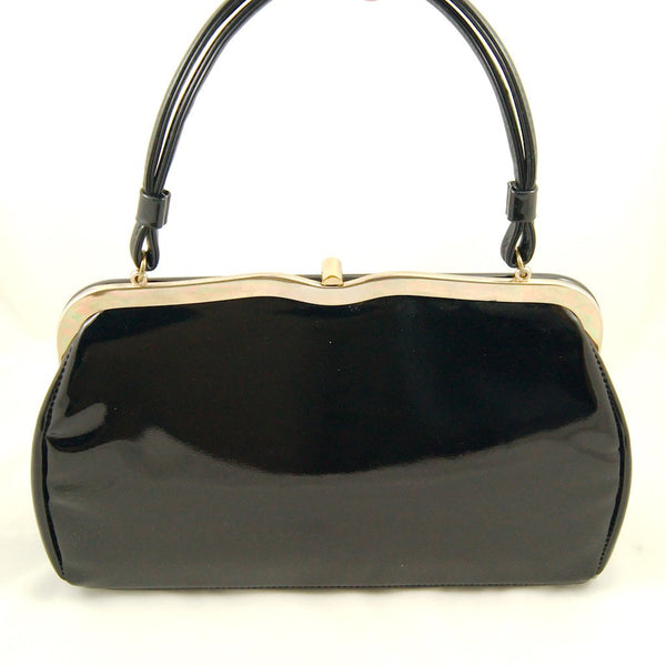 1950s Black Patent Heart Bag by Cats Like Us - Cats Like Us