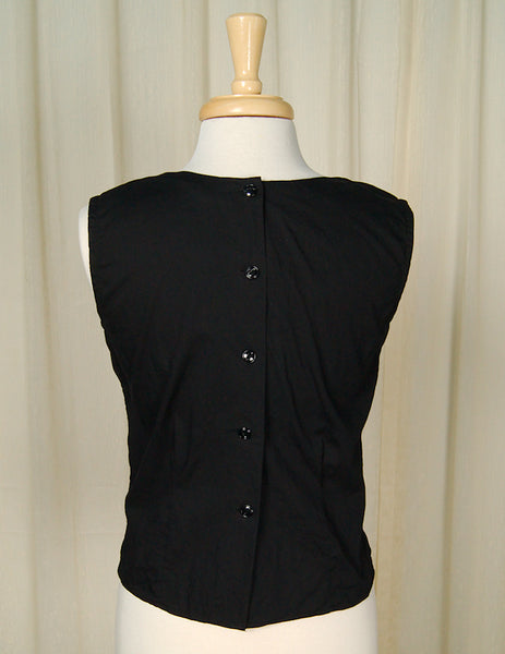 1950s Black Pleated Blouse by Cats Like Us - Cats Like Us