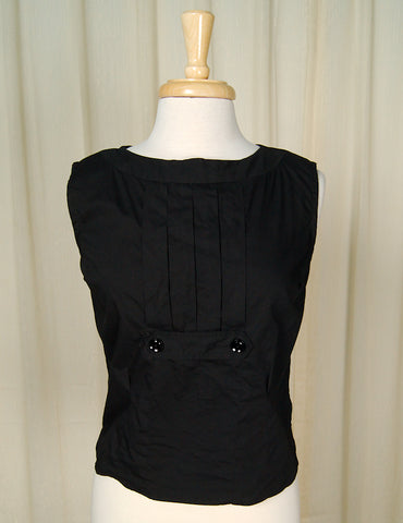 1950s Black Pleated Blouse