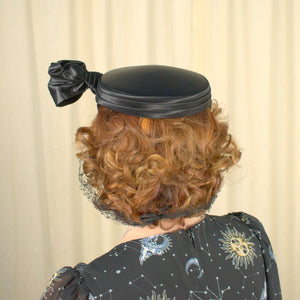 1950s Black Satin Hat w Netting - Cats Like Us