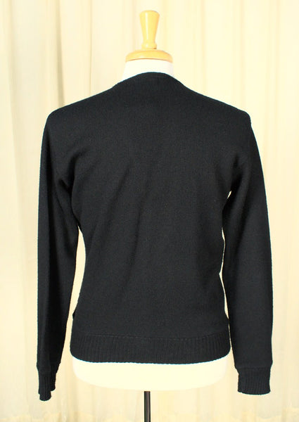 1950s Black V Neck Cardigan