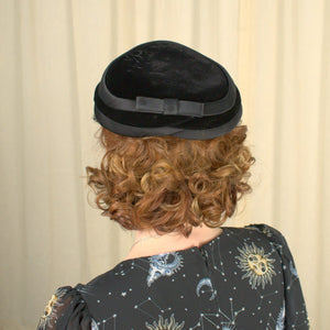 1950s Black Velvet & Satin Hat - Cats Like Us
