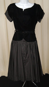 1950s Black Velvet Drop Dress - Cats Like Us