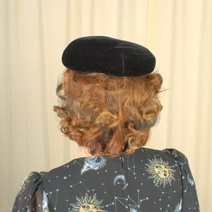 1950s Black Velvet Hat w Veil - Cats Like Us