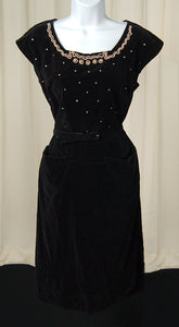 1950s Black Velvet Pearl Dress by Cats Like Us - Cats Like Us