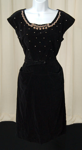 1950s Black Velvet Pearl Dress