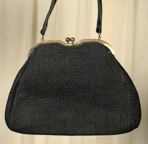 1950s Black Weaved Handbag