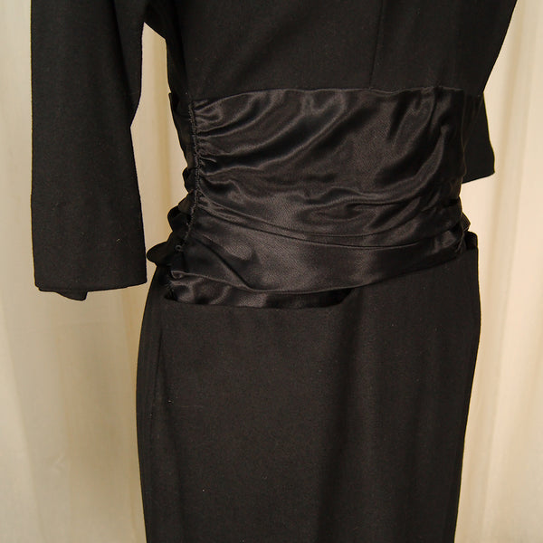1950s Black Wool Bombshell Dress by Vintage Collection by Cats Like Us - Cats Like Us