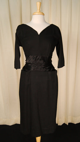 1950s Black Wool Bombshell Dress by Cats Like Us : Cats Like Us