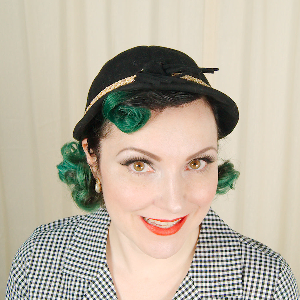 1950s Black Wool Cap Hat by Cats Like Us - Cats Like Us
