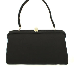1950s Blk Fabric Rhinestone Bag