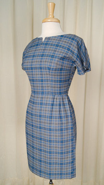 1950s Blue & Gray Wiggle Dress