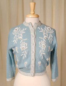 1950s Blue Beaded Cardigan by Vintage Collection by Cats Like Us - Cats Like Us