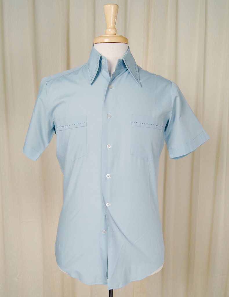 1950s Blue Contrast Shirt