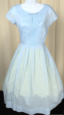 1950s Blue Embroidered Dress
