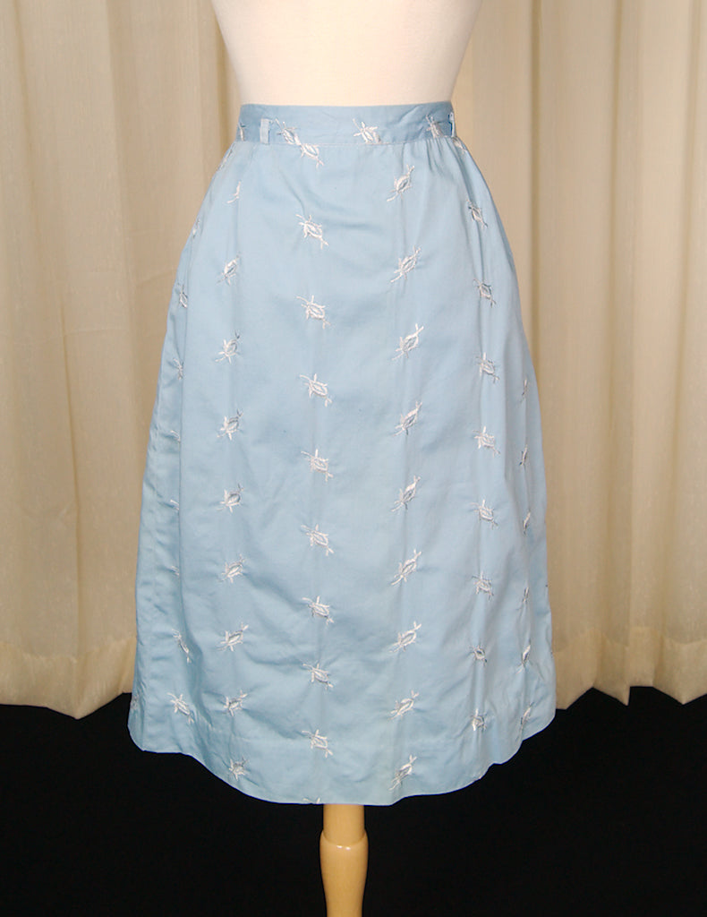 1950s Blue Embroidered Skirt