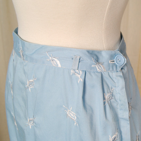 1950s Blue Embroidered Skirt by Cats Like Us - Cats Like Us