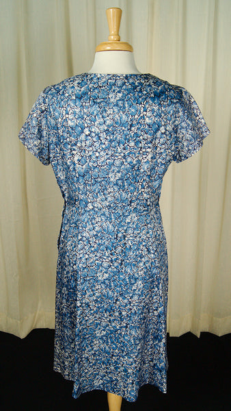 1950s Blue Floral Bow Dress by Vintage Collection by Cats Like Us - Cats Like Us