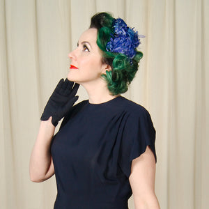 1950s Blue Floral Crescent Hat by Cats Like Us - Cats Like Us