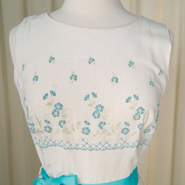 1950s Blue Flower Sheath Dress by Cats Like Us - Cats Like Us