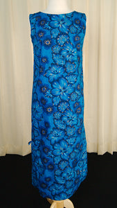 1950s Blue Hibiscus Maxi Dress