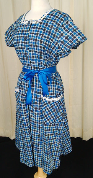 1950s Blue Houndstooth Dress by Cats Like Us - Cats Like Us