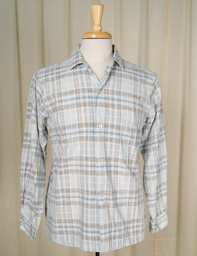 1950s Blue Plaid Loop Shirt