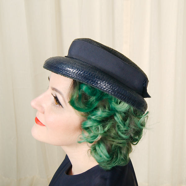 1950s Blue Straw Navy Hat by Cats Like Us - Cats Like Us